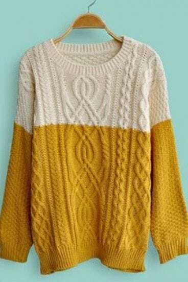 Yellow White Long Sleeve Cable Knit Sweater -SheIn(Sheinside)