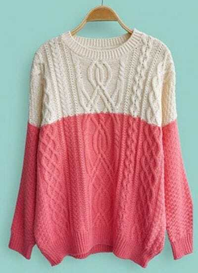 Dark Pink White Long Sleeve Cable Knit Sweater -SheIn(Sheinside)