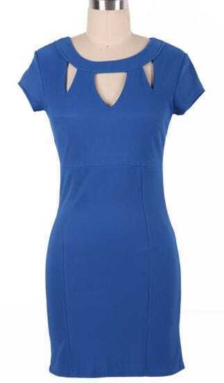 Blue Short Sleeve Hollow Slim Dress