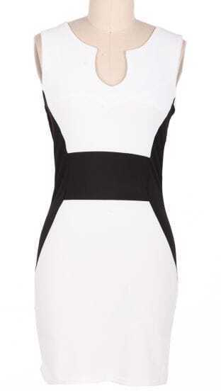 White Sleeveless Split Body-Conscious Dress
