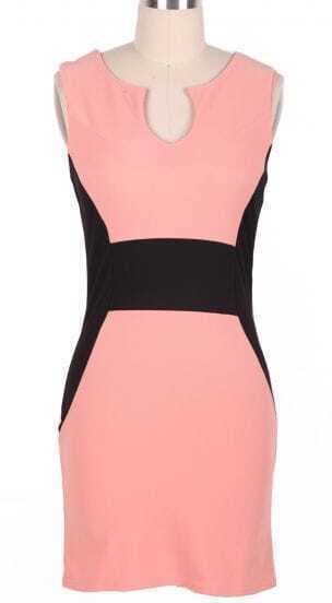 Pink Sleeveless Split Body-Conscious Dress