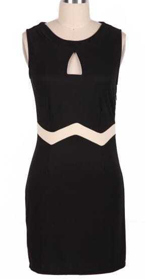 Black Sleeveless Hollow Front Body-Conscious Dress