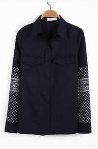 Navy Diamond Patterned Long Sleeve Pockets Blouse