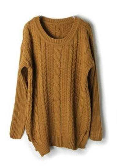Camel Long Sleeve Cable Chunky Split Sweater