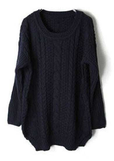 Navy Long Sleeve Cable Chunky Split Sweater