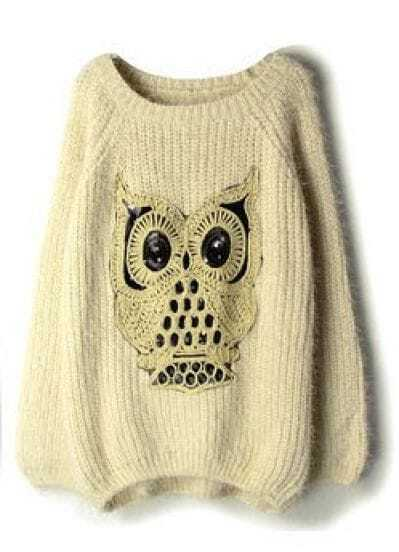 Beige Sequined Owl Pattern Mohair Sweater