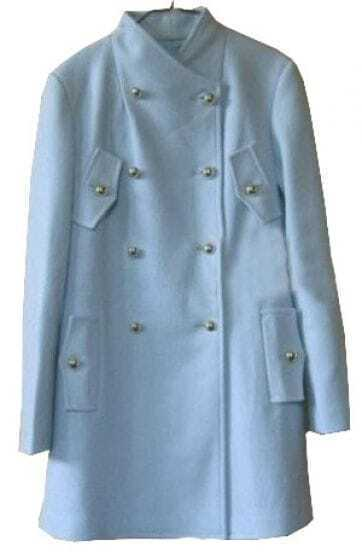 Blue Stand Collar Pockets Buttons Embellished Coat