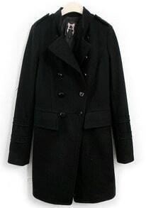 Black Stand Collar Epaulet Buttons Coat