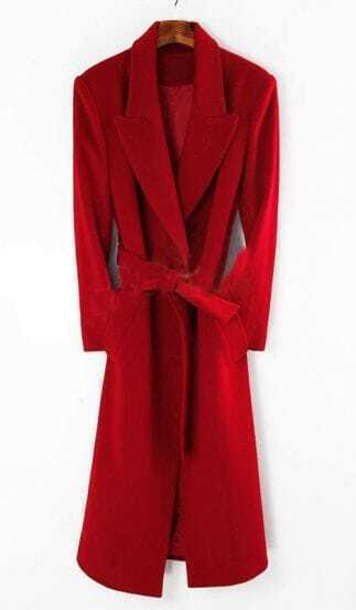 Red Shawl Drawstring Waist Long Coat