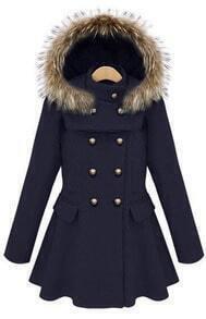 Navy Stand Collar Ruffles Buttons Coat