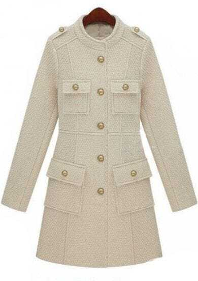 Beige Stand Collar Epaulet Buttons Embellished Coat