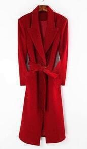 Red Shawl Drawstring Waist Long Coat