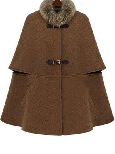 Brown Fur Collar Covered Button Cape Coat