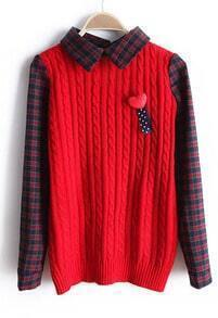 Red Contrast Plaid Lapel Long Sleeve Sweater