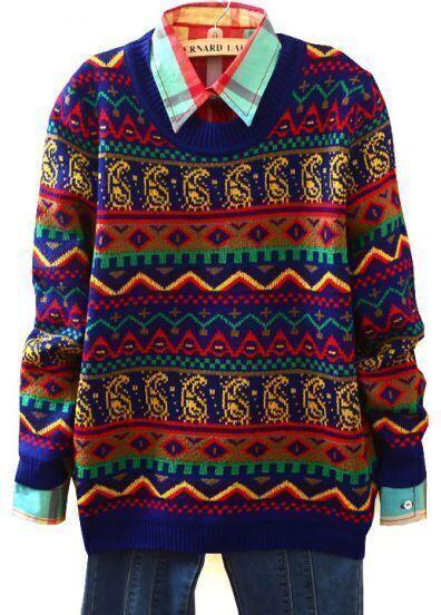 Dark Blue Long Sleeve Geometric Tribal Pattern Sweater