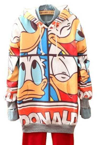 Orange Hooded Donald Duck Print Sweatshirt