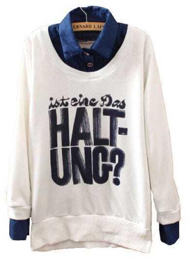 White Contrast Denim Lapel Letters Print Sweatshirt