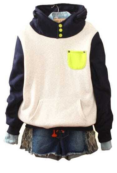 Navy White Hooded Buttons Pockets Sweatshirt
