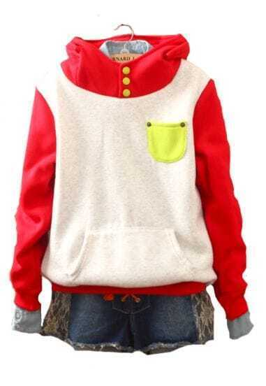 Red White Hooded Buttons Pockets Sweatshirt