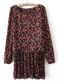 Red Batwing Long Sleeve Floral Pleated Dress