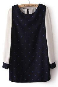 Navy Contrast Chiffon Long Sleeve Polka Dot Dress