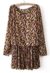 Apricot Batwing Long Sleeve Floral Pleated Dress