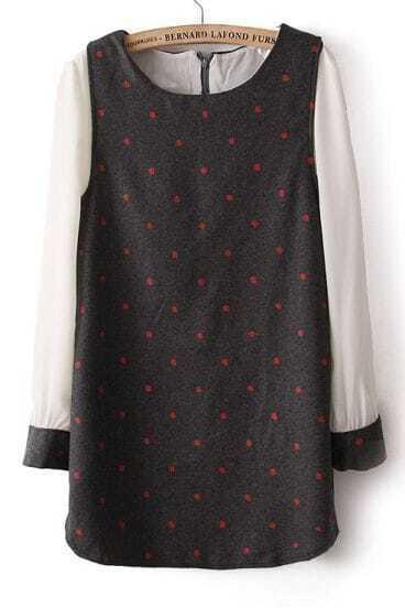 Grey Contrast Chiffon Long Sleeve Polka Dot Dress