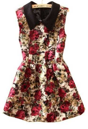 Red Lapel Sleeveless Rose Print Tank Dress