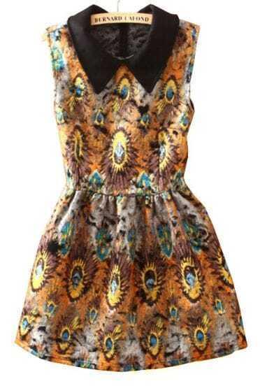 Yellow Lapel Sleeveless Rose Print Tank Dress