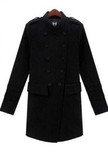 Black Long Sleeve Epaulet Pockets Coat