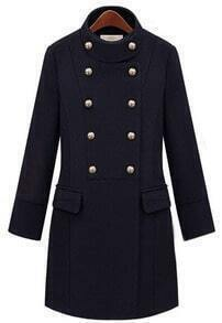 Black Stand Collar Double Breasted Pockets Coat