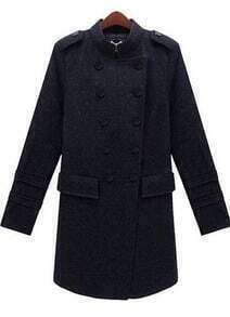 Dark Grey Long Sleeve Epaulet Pockets Coat