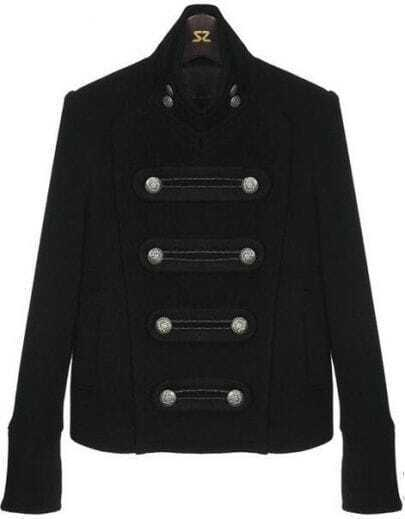 Black Stand Collar Buttons Embellished Crop Coat