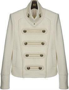 White Stand Collar Buttons Embellished Crop Coat