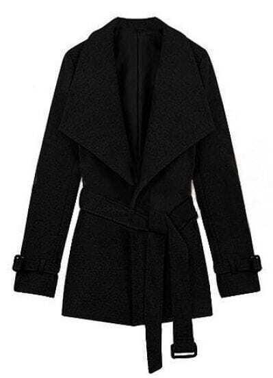 Black Lapel Drawstring Waist Cuff Buckle Coat