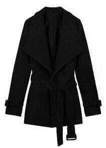 Black Lapel Drawstring Waist Cuff Buckle Coat