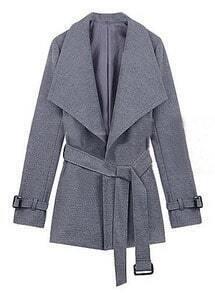 Light Grey Lapel Drawstring Waist Cuff Buckle Coat
