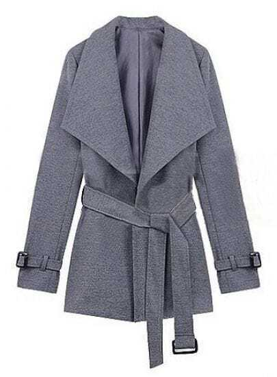 Light Grey Lapel Drawstring Waist Cuff Buckle Coat