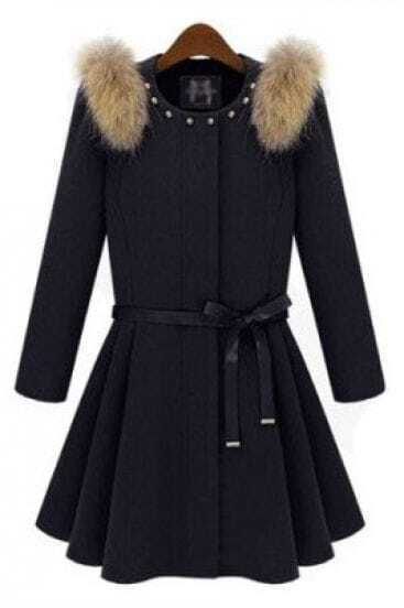 Black Shoulder Fur Embellished Rivet Coat