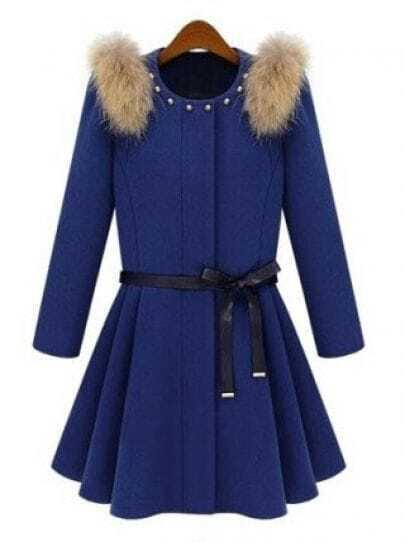 Blue Shoulder Fur Embellished Rivet Coat