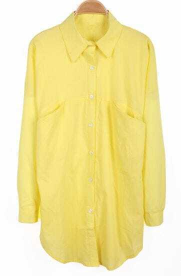 Yellow Lapel Long Sleeve Pockets Chiffon Blouse