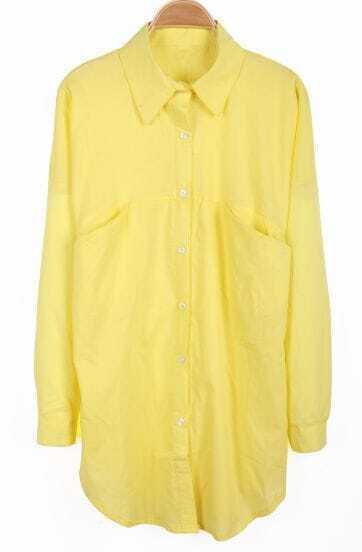 Yellow Lapel Long Sleeve Pockets Chiffon Blouse