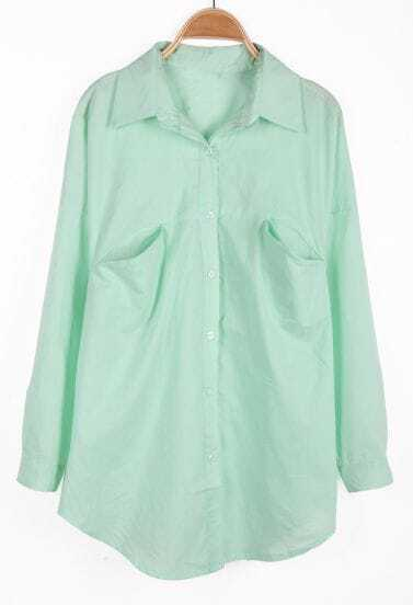 Mint Green Lapel Long Sleeve Pockets Chiffon Blouse
