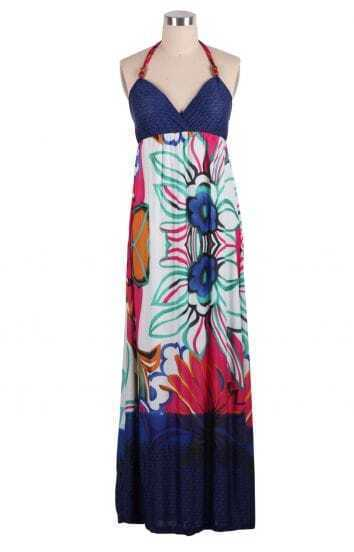 Purple Halter Bohemian Style Floral Full-Length Dress