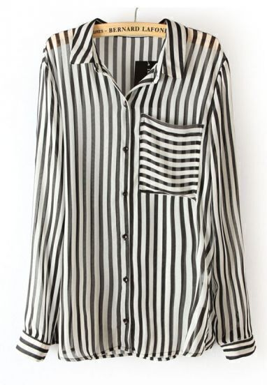 Black White Vertical Stripe Long Sleeve Chiffon Blouse