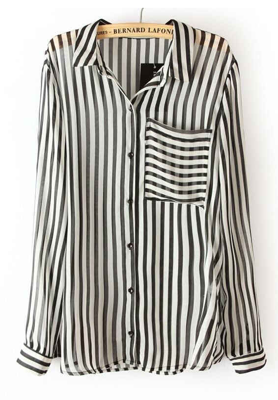 Black White Vertical Stripe Long Sleeve Chiffon Blouse -SheIn ...