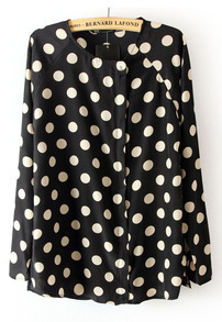Black Long Sleeve Polka Dot Chiffon Blouse