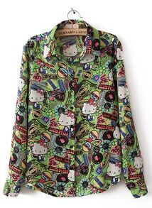 Green Long Sleeve Hello Kitty Print Chiffon Blouse