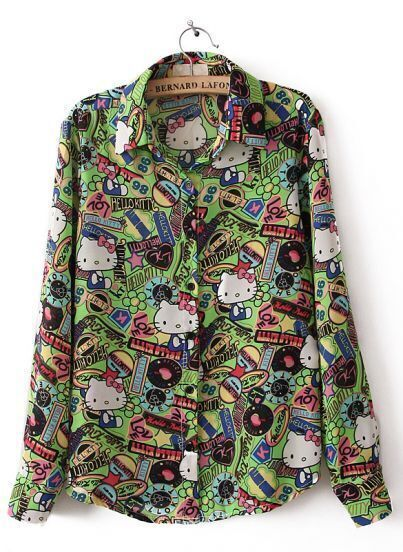Green Long Sleeve Hello Kitty Print Chiffon Blouse
