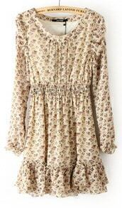 Beige Long Sleeve Floral Elastic Waist Ruffles Dress